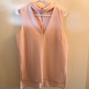 High collar cut out sleeveless top